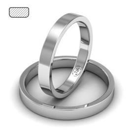 Обручальное кольцо классическое из белого золота, ширина 3 мм, артикул R-W135W