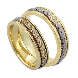 Обручальные кольца парные с бриллиантами из золота 585 пробы, арт. R-ТС L1912-1Б19