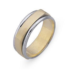 Обручальное кольцо из двухцветного золота 585 пробы, артикул R-СЕ040