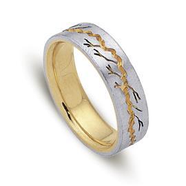 Обручальное кольцо из двухцветного золота 585 пробы, артикул R-ДК 020