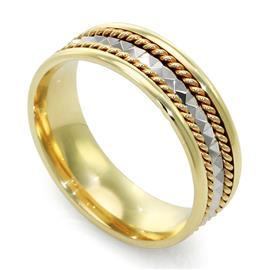 Кольцо из желтого и белого золота 585 пробы, артикул R-ПЕ 001