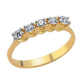 Кольцо  из желтого золота 750 пробы с 5  бриллиантом 0,31 карат, артикул R-DRN12042-06