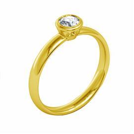 Помолвочное кольцо из жёлтого золота 585°  с 1  бриллиантом 0,21 ct 3/5, артикул R-НП 061-1