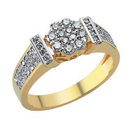 Кольцо  из желтого   золота 750 пробы с  57 бриллиантами 0,61 карат, артикул R-DRN12851-01