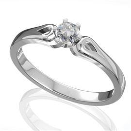 Помолвочное кольцо с 1 бриллиантом 0,18 ct 4/5  из белого золота 585°, артикул R-D40074-2