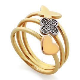 Кольцо из желтого золота 585 пробы с цирконами, артикул R-GT-536-1