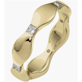 Обручальное кольцо с бриллиантами из золота 585 пробы, артикул R-2201-1