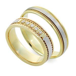 Обручальные кольца парные с бриллиантами из золота 585 пробы, арт. R-ТС V1010