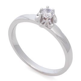 Помолвочное кольцо с 1 бриллиантом 0,15 ct 5/6 белое золото 585°, артикул R-НП 039-2