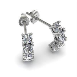 Серьги с 8 бриллиантами 0,8 ct 4/5, из белого золота 585°, артикул R-E37514-4-2