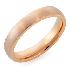 Обручальное кольцо классическое  с матовой поверхностью из розового золота, ширина 4 мм, комфортная посадка, артикул R-W345R-m