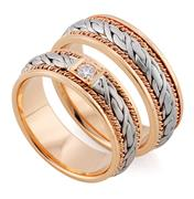 Эксклюзивные обручальные кольца из золота 585 пробы, артикул R-тс 1566-3Б1
