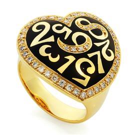 Кольцо с 46 бриллиантами 0,55 ct 4/5  из желтого золота 750°, артикул R-СК1383