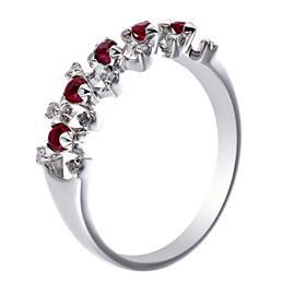 Кольцо с 12 бриллиантами 0,11 ct 3/5, 5 рубинов  0,25 ct 3/3 из белого золота 585°, артикул R-02600310557