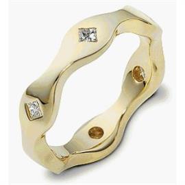 Обручальное кольцо с бриллиантами из золота 585 пробы, артикул R-2198-1