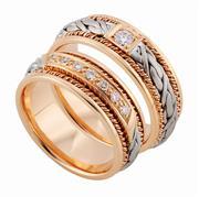 Эксклюзивные обручальные кольца с бриллиантами из золота 585 пробы, артикул R-тс 1566-3Б17