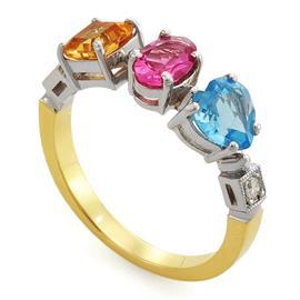 Кольцо с турмалином, топазом, цитрином 1,77 ct и 2 бриллиантами 0,07 ct 4/5 из желтого золота 750°, артикул R-1537