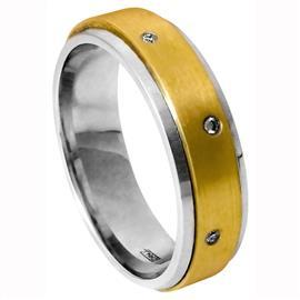 Обручальное кольцо с бриллиантами из золота 585 пробы, артикул R-1835