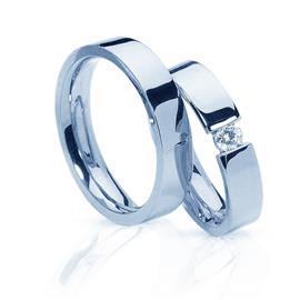 """Обручальные кольца с бриллиантом из белого золота серии """"Twin set"""", артикул R-ТС 4000-2-0,06"""