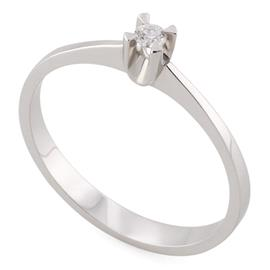 Помолвочное кольцо с 1 бриллиантом 0,05 ct 3/6 белое золото 750°, артикул R-НП 070