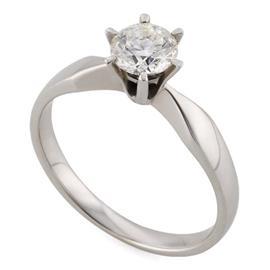 Помолвочное кольцо с 1 бриллиантом 0,71 ct 3/5 с сертификатом ( GIA 1139865711 0.71 F/VS2) белого золото 585°, артикул R-НП 032-2