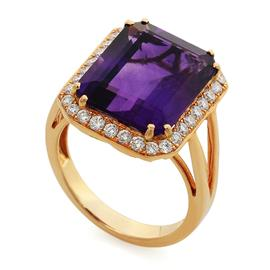 Кольцо с 1 аметистом и 32 бриллиантами 0,57 ct 4/5 из розового  золото 750°, артикул R-MROО5801