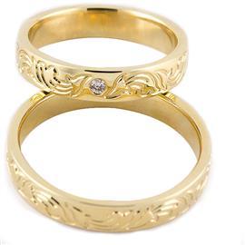 """Обручальные кольца из желтого золота 585 пробы серии """"Twin Set"""", артикул R-ТС 3352-1"""