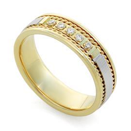 Обручальное кольцо из желтого и белого золота 585 пробы с 5 бриллиантами 0,05 карат, артикул R-V1010