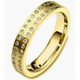 Обручальное кольцо с бриллиантами из золота 585 пробы, артикул R-3105-1