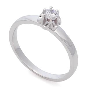 Помолвочное кольцо с 1 бриллиантом 0,15 ct 5/6 белое золото 585°, арт. R-НП 039-2