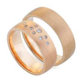 Обручальные кольца парные с бриллиантами из золота 585 пробы, артикул R-80601-3м