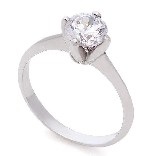 Кольцо из белого золота с 1 бриллиантом 0,45 карат 585 проба, арт. R-КК 025045 купить в интернет-магазине, цена