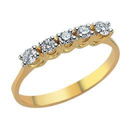 Помолвочное кольцо  из желтого золота 750 пробы с 5  бриллиантом 0,31 карат, артикул R-DRN12042-09