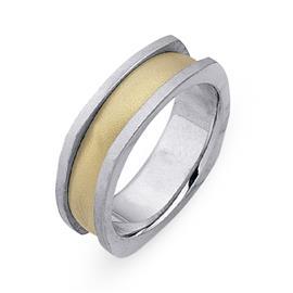 Обручальное кольцо из двухцветного золота 585 пробы, артикул R-СЕ026