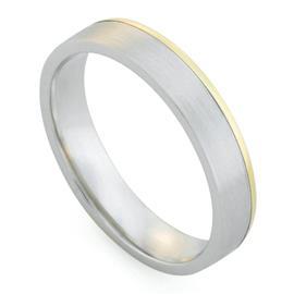 Обручальное кольцо дизайнерское из желтого, белого  золота, комфортная посадка, артикул R-81610-12