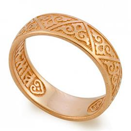 Кольцо с молитвой Спаси и сохрани из розового золота 585°, артикул R-KLZ0601-3