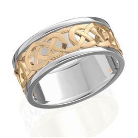 Обручальное кольцо дизайнерское из белого и  розового золота, ширина 6 мм, артикул R-W47690-1