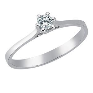 Помолвочное кольцо с 1 бриллиантом 0,15 ct 5/6 белое золото 750°, арт. R-TRN03591-08