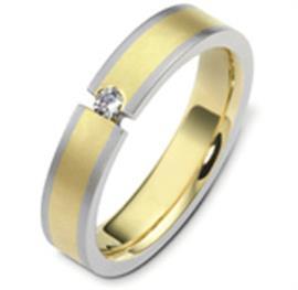 Обручальное кольцо с одним круглым бриллиантом из золота 585 пробы, артикул R-2457