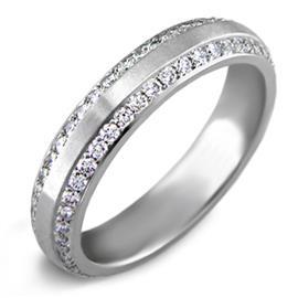 Обручальное кольцо   с бриллиантами 0,69 карат белое золото 585 проба, артикул R-6016