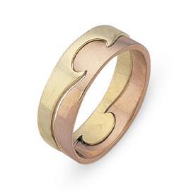 Обручальное кольцо из двухцветного золота 585 пробы, артикул R-СЕ033