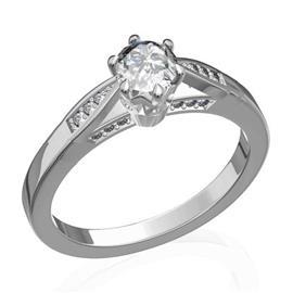 Кольцо с 1 бриллиантом 0,45 ct 4/5 и 18 бриллиантами 0,09 ct 4/5 из белого золота 585°, артикул R-D45258-2
