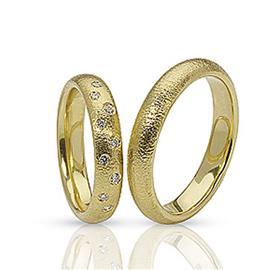 Обручальные кольца парные с бриллиантами из золота 585 пробы, артикул R-ТС 12012