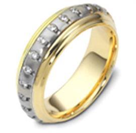 Обручальное кольцо  с бриллиантами из золота 585 пробы, артикул R-1244