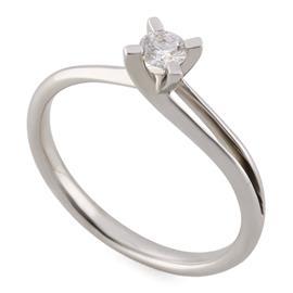 Помолвочное кольцо с 1 бриллиантом 0,20 ct 4/6  из белого золота 585°, артикул R-YZ42349-2
