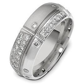 Обручальное кольцос бриллиантами из белого золота 585 пробы с бриллиантами, артикул R-2100