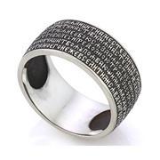 Православное кольцо с молитвой из серебра 925 пробы с чернением, артикул R-KLS02