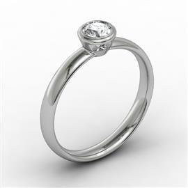 Помолвочное кольцо с 1 бриллиантом 0,20 ct 3/5 белое золото 585°, артикул R-НП 061-2