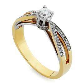 Кольцо с 1 бриллиантом 0,20 ct 4/5 и 38 бриллиантами 0,15 ct 4/5 желтое золото 750°, артикул R-СК1010
