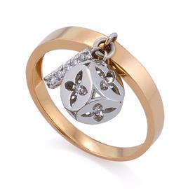 Кольцо из белого и розового золота 750 пробы с 11 бриллиантами 0,1 карат